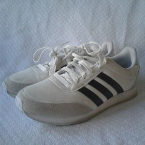 Adidas Sneakers White Gray Black 7 Lace Up Racer